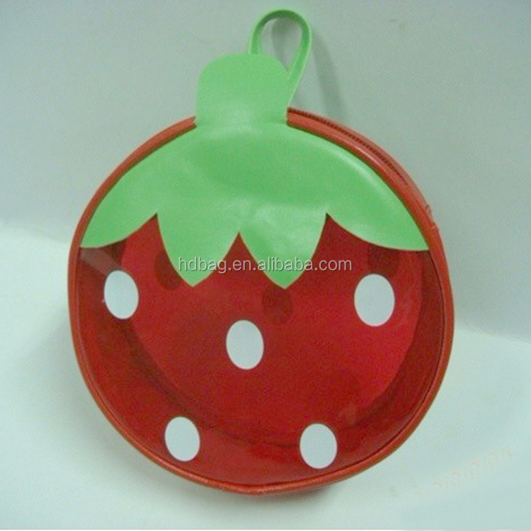 custom strawberry shape clear pvc zipper coin holder purse