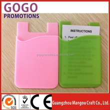 silicon card mobile phone with 3M wallet on backside, beautiful design silicone for business card holder and cell-phone case