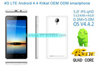 4G LTE Smartphone Android 4.4 Quad Core With 5.0inch Screen 3.7V/1900mAh battery with led flash mobile phone