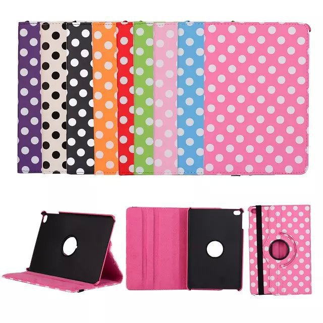 Polka dot Pattern Magnetic Swivel Rotating 360 Leather tablet Case for iPad 2 3 4 Smart Cover Function