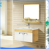 Bamboo Hot Bathroom Vanity Cabinets Used Yellow And White Color