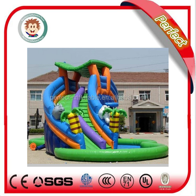 Cheap funny inflatable corkcrew water slide for sale