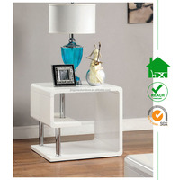 CT-2161 modern white wooden high gloss end table for living room