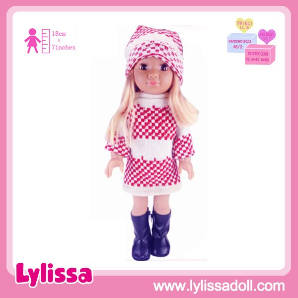 Wholesae 18 Inch Girl Dolls American Dolls OEM Vinyl Material With Beautiful Cloth