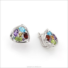 925 Sterling Silver 2.5CT Genuine Mix Gems Clip Earring 2015 Newest Style colorful Earring