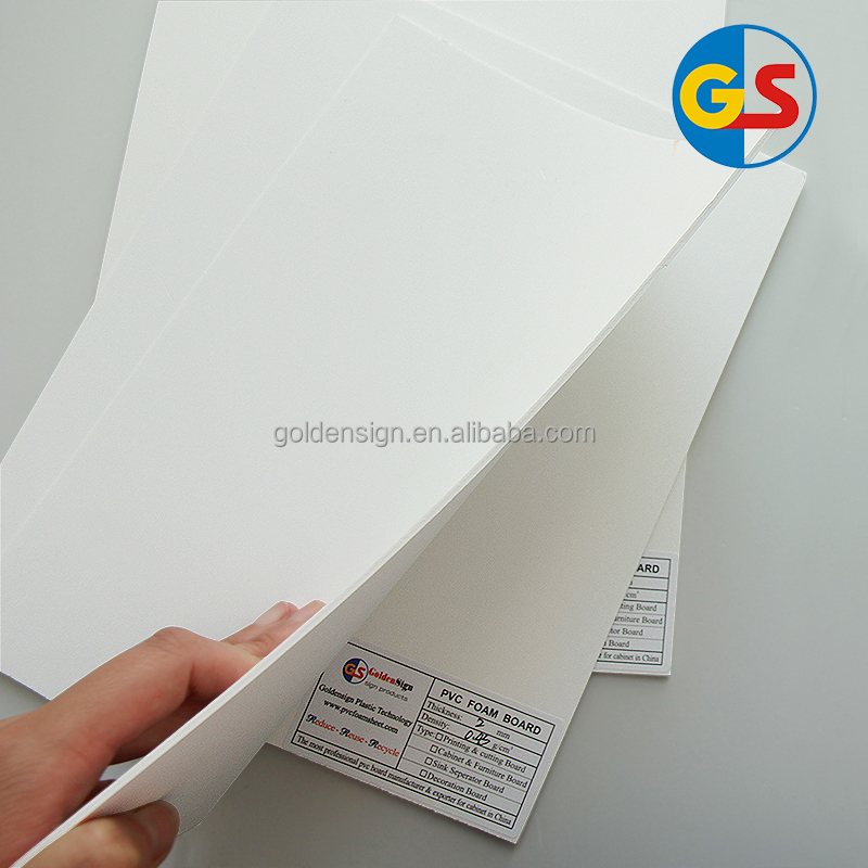 Goldensign colored 1-40mm thickness PVC foam board/sheet/panel for cabinet furniture manufacturer