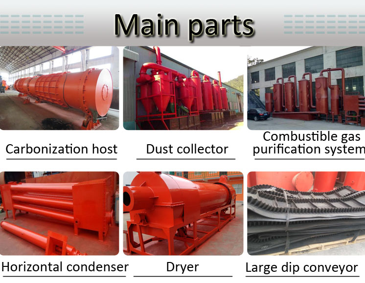 new type wood continuous biomass carbonization rice husk furnace