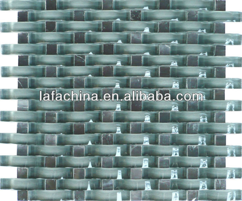 mosaic wave glass tile mixed stone for fitment