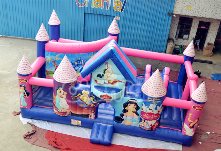 Purple Princess Obstacle Combination Inflatable Obstacle with Bouncer and Climbing Slip Slide