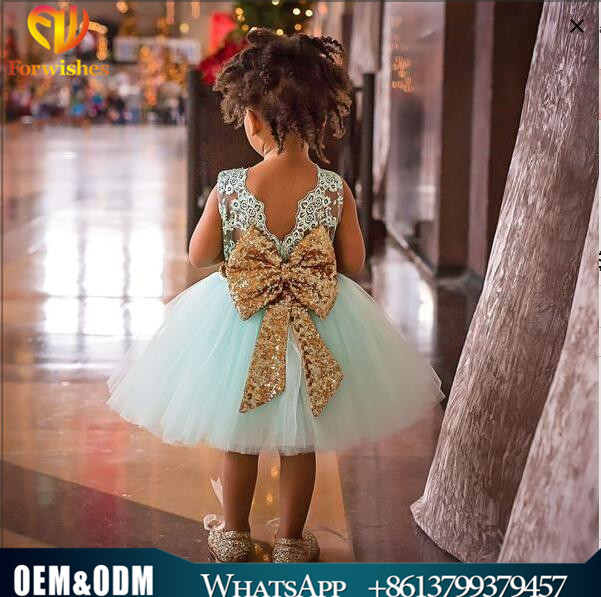 2017 Wholesale kids clothing big bow sequins infant puffy party ball gowns baby frock design girl wedding dress