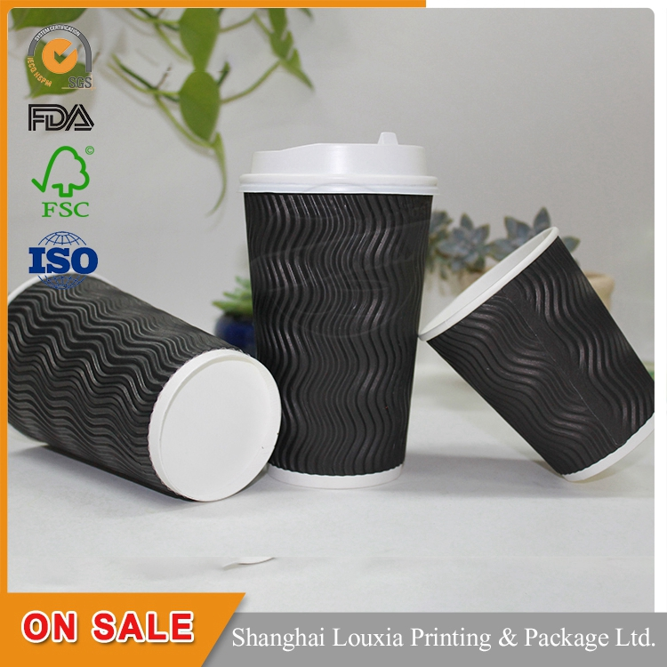 Disposable Eco Friendly Ripple Wall Coffee Cup Paper