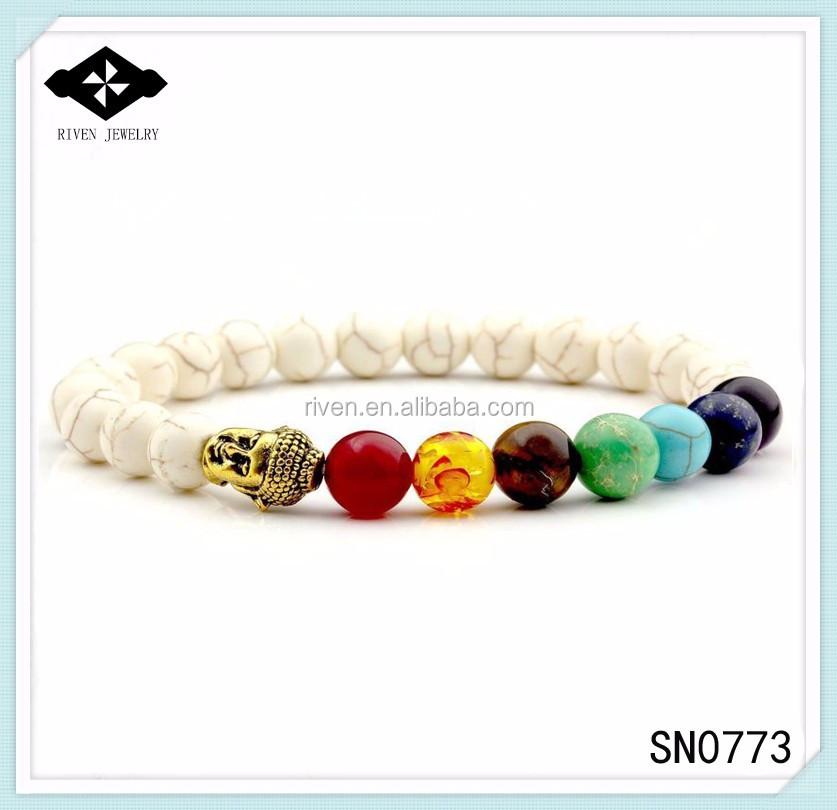 SN0773 2017 Newest Howlite Buddha bracelet 7 chakra Mala beads buddhist bracelet for men Yoga Buddha bracelet for men.jpg