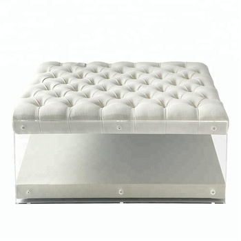 Modern Button Tufted Clear Acrylic Sides Ottoman