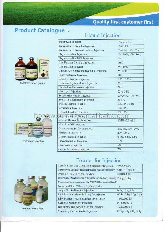 Tylosin Tartrate Injection 20% produced by hebei new century