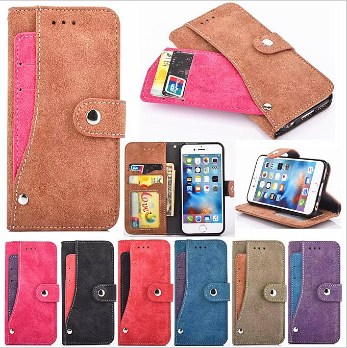 2016 May new design retro matte more card slot pu leather wallet case for iphone 6 /plus / se
