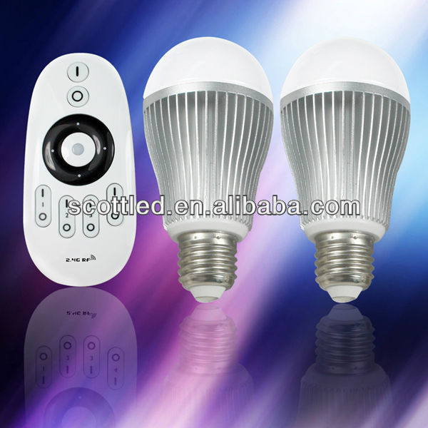 2pcs 2.4G LED wifi light bulb with 1pcs touch screen Remoter,color temperature and brightness adjustable