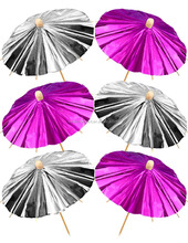Shiny Pink & Silver Cocktail Umbrellas Food / drinks Party Picks