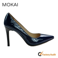 A120-1 BLUE patent leather global popular sexy high cut high heel dress shoes