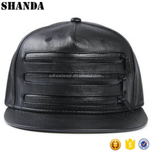 Custom Black Leather Snapback Hats With Zipper,Zip Leather Snapback Cap,Plain Black Leather Snapback With Zipper Wholesale