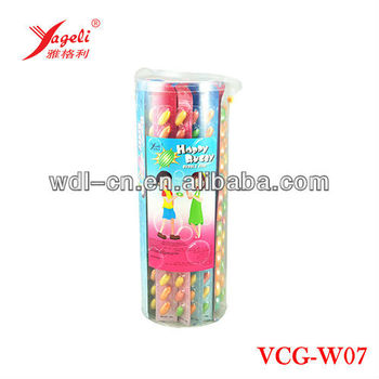 13ct Rugby Chewing Gum Balls On Paper Ruler In PVC Jar VCG-W07