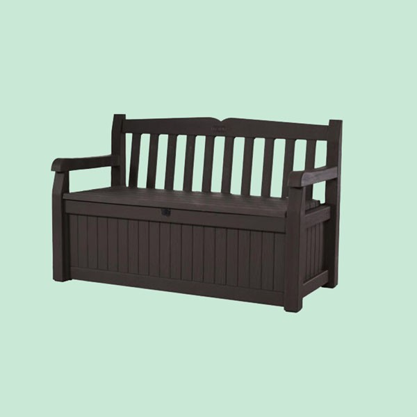 Resin Bench with Ample Storage Box Color Black Patio Furniture