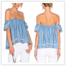 Clothes Women Ladies Tencel Blouse Design Patterns Back Neck Off Shoulder Top hsb2091