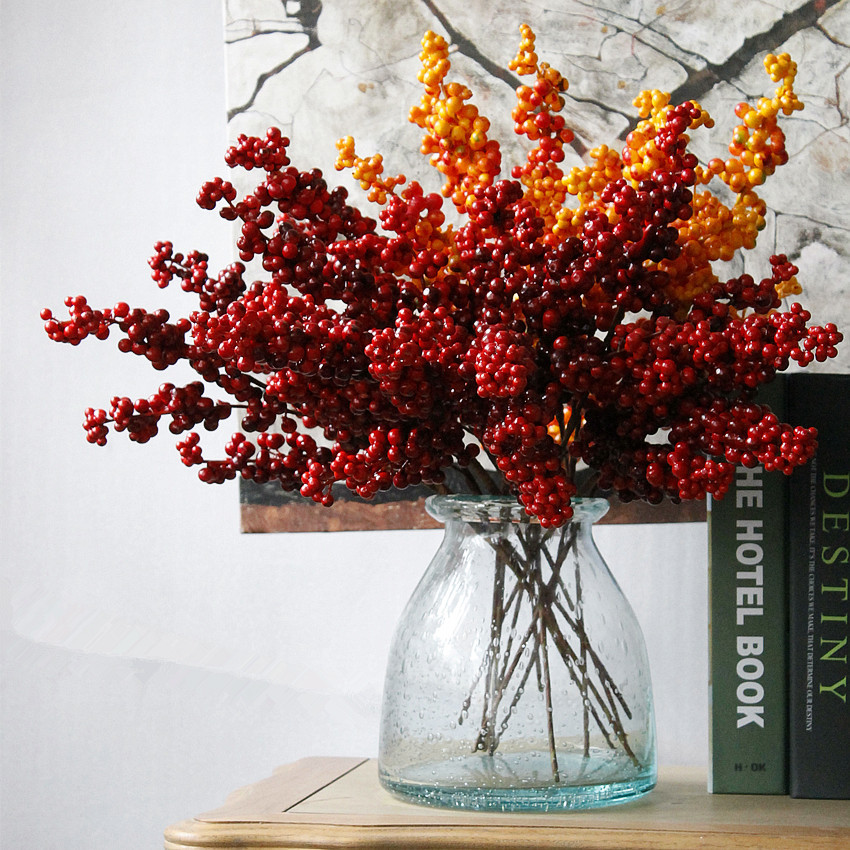 Wholesale artificial christmas berries artificial berry branch for home decoration high quality flower arrangement red berries