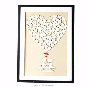 High Quality Custom Wooden Heart sign wedding guest book with frame