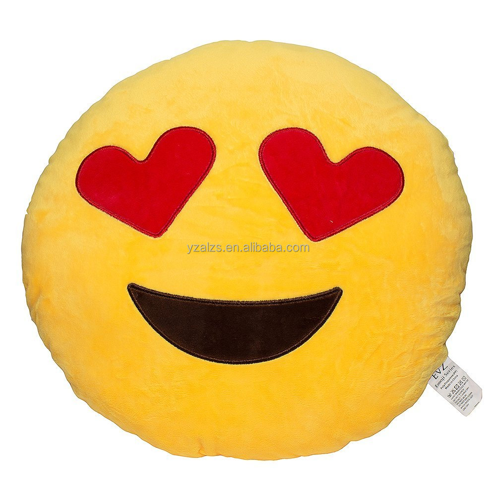 Lovely Emoji Smiley Emotion Yellow Round Cushion Pillow Stuffed Plush Toy