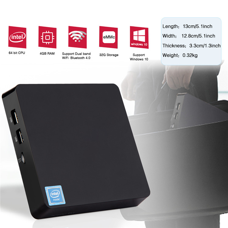 WIN 10 system mini pc TII 4g 32g with quad core 1080p 4k video win mini pc case
