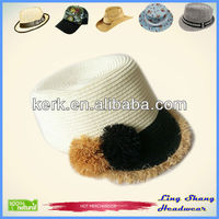 Paper Straw Hat With Raffia Straw Ball Hat