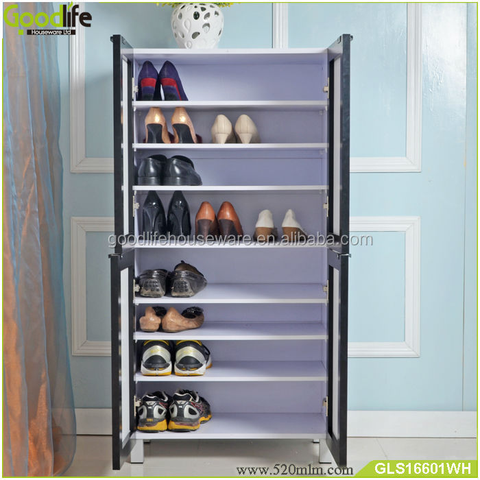 China furniture factory new design luxury wooden shoe cabinet with mirror