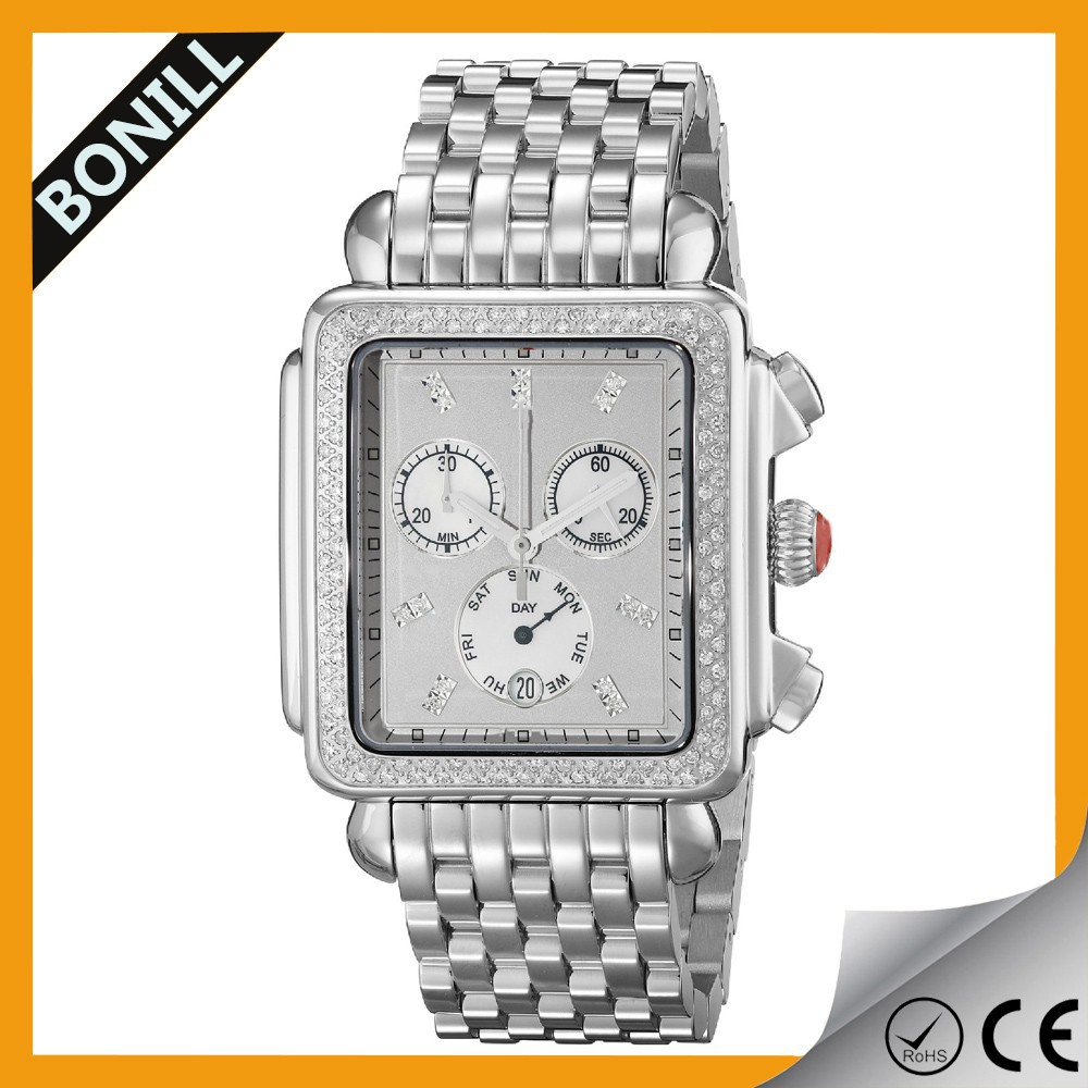 square shape men watch with a big dai and three small dail watch