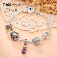 T400 jewelry Charm bracelets beads 925 sterling silver gemstone jewelry 2016 newest designQT114