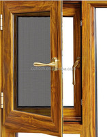 Wooden style frame casement aluminium windows with antique window screening