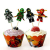 Cartoon character muffin cupcake wrappers with decorative toppers
