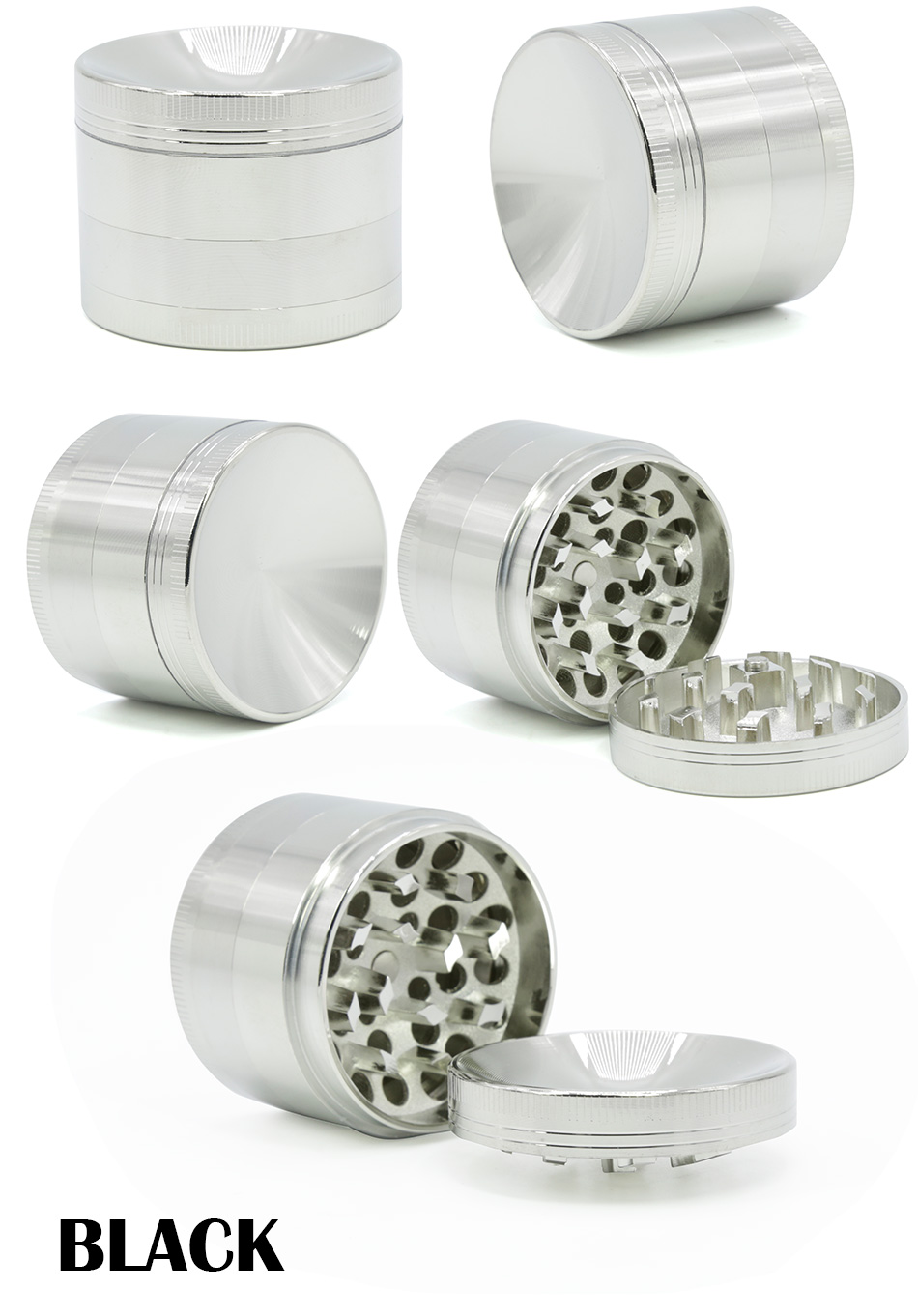 New Arrival 50MM Multi Colors 4 Layer Zinc Alloy Diamond-shape Teeth Concave Herb Grinder