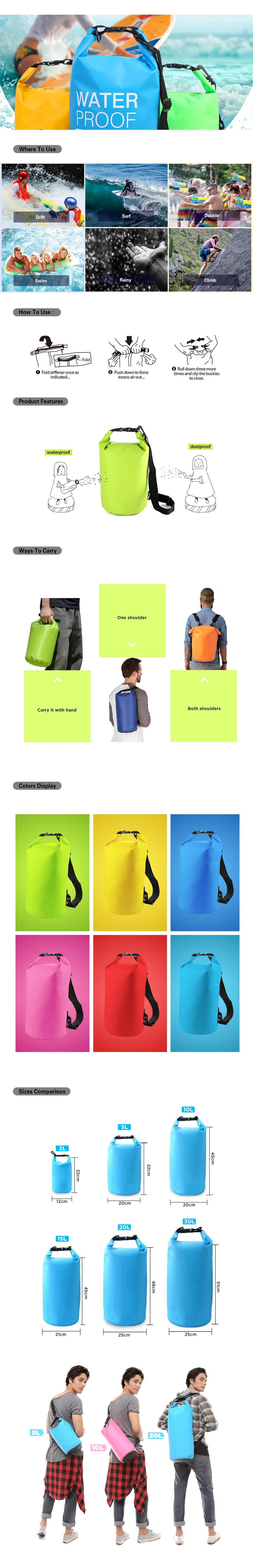 Roll Top Shoulder Strap Waterproof Outdoor Bag Watersports Equipment Inflatable Dry Bag