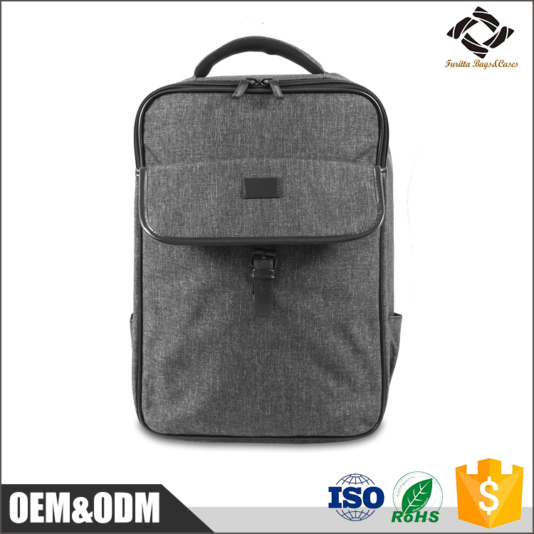 Hot selling custom grey nylon material thin portable 15'' inch 49*33*13cm lightweight business laptop backpack
