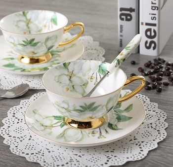 British Bone China Teacup Spoon and Saucer Boxed Set,Set of 3
