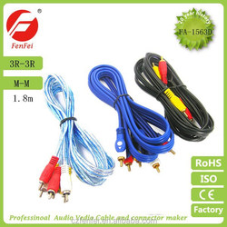 high quality 3 male RCA to 3 male RCA cable audio and video cable