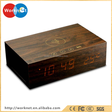 2017 New products Qi wireless charging wooden bluetooth speaker with alarm clock temperature handsfree phone charger