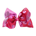 Valentine Day Big Pink Hearts Hair Bows