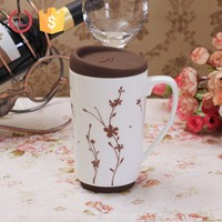 Porcelain mug grape design with silicone lid and base for tea