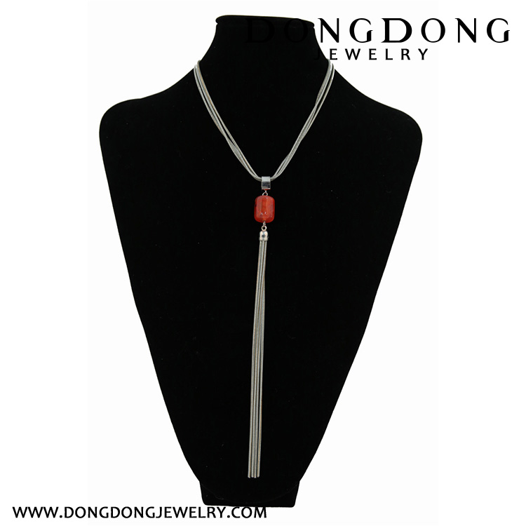 CL055 exquisite silver alloy chain agate stone fashion jewelry pendant necklace for women