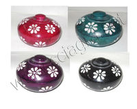 Colored Soapstone Round Small Trinket Boxes