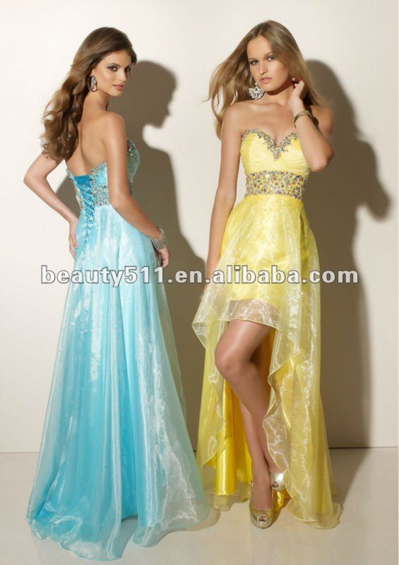 2013 fashion yellow tafetta short front long back sweetheart draping cocktail dress with crystal waits embellishment CD91027