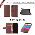 classical design Exquisite workmanship stand wallet Lichee Pattern smart case for sony xperia X compact with magnetic closure