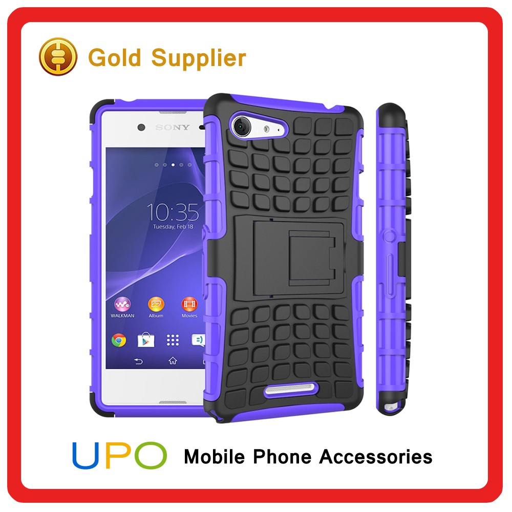 [UPO] Hot Sales Heavy Duty Hybrid Armor Combo Phone Cover, Silicon Hard PC Case for Sony e2