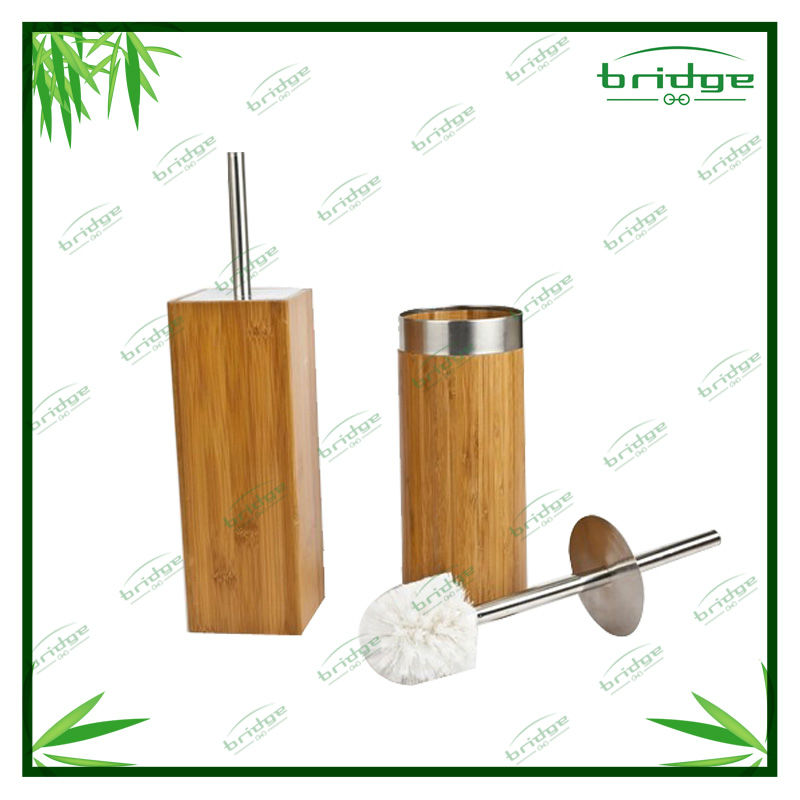 sealing bamboo toilet brush holder
